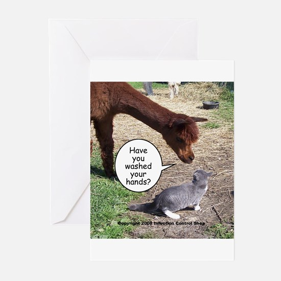 wash your hands black.png Greeting Cards (Pk of 10