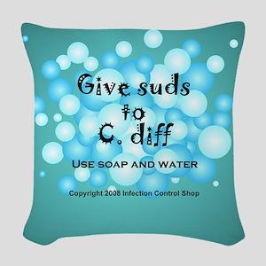 2-Flu Magnet green Woven Throw Pillow