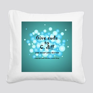 2-Flu Magnet green Square Canvas Pillow