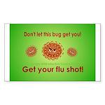 2-Flu Magnet green Sticker (Rectangle 50 pk)