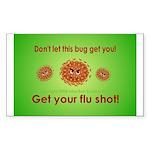 2-Flu Magnet green Sticker (Rectangle 10 pk)