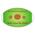 2-Flu Magnet green Sticker (Oval 10 pk)