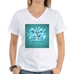 2-Flu Magnet green Women's V-Neck T-Shirt
