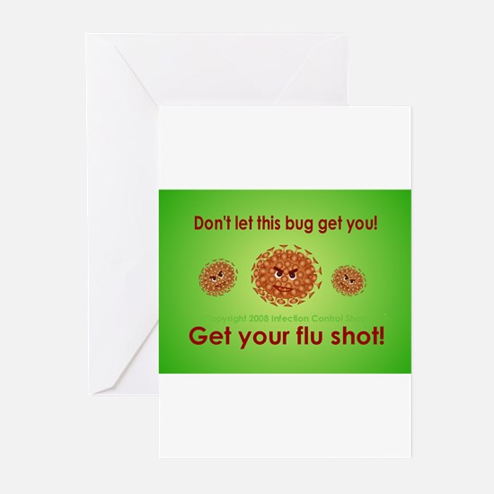 2-Flu Magnet green.png Greeting Cards (Pk of 10)