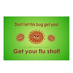 2-Flu Magnet green Postcards (Package of 8)