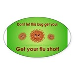 2-Flu Magnet green Sticker (Oval)