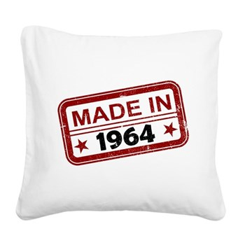 Stamped Made In 1964 Square Canvas Pillow