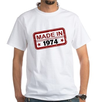 Stamped Made In 1974 White T-Shirt