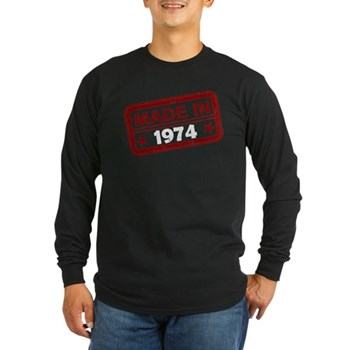 Stamped Made In 1974 Long Sleeve Dark T-Shirt