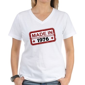 Stamped Made In 1976 Women's V-Neck T-Shirt