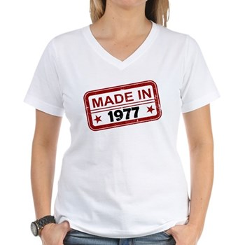 Stamped Made In 1977 Women's V-Neck T-Shirt