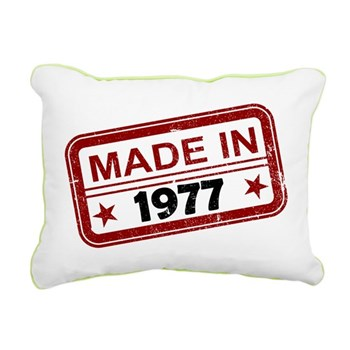 Stamped Made In 1977 Rectangular Canvas Pillow