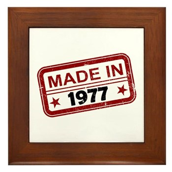Stamped Made In 1977 Framed Tile