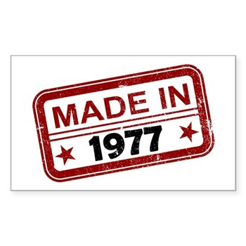 Stamped Made In 1977 Rectangle Sticker