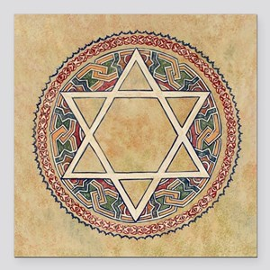 "STAR OF DAVID Square Car Magnet 3"" x 3"""