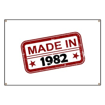 Stamped Made In 1982 Banner