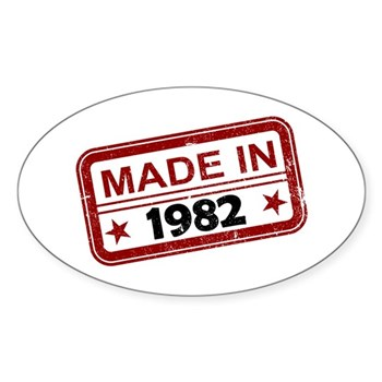 Stamped Made In 1982 Oval Sticker (10 pack)