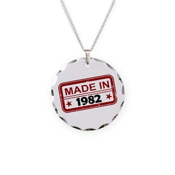 Stamped Made In 1982 Necklace Circle Charm
