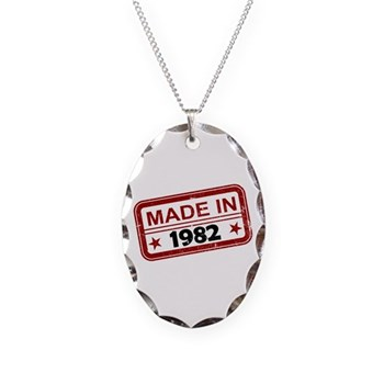 Stamped Made In 1982 Necklace Oval Charm