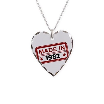 Stamped Made In 1982 Necklace Heart Charm