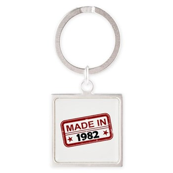 Stamped Made In 1982 Square Keychain