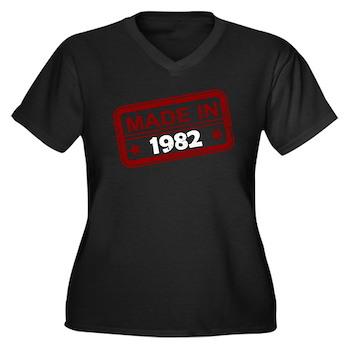 Stamped Made In 1982 Women's Dark Plus Size V-Neck