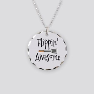 Flippin Awesome Cooking Necklace Circle Charm