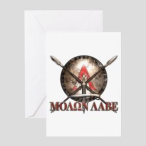 Molon Labe - Spartan Shield and Swords Greeting Ca