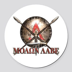 Molon Labe - Spartan Shield and Swords Round Car M