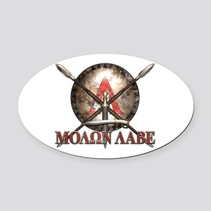 Molon Labe - Spartan Shield and Swords Oval Car Ma