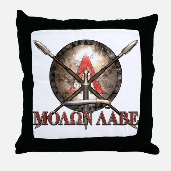 Molon Labe - Spartan Shield and Swords Throw Pillo