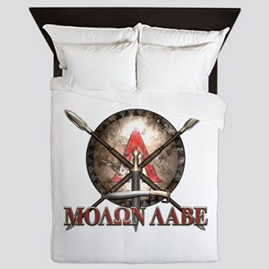 Molon Labe - Spartan Shield and Swords Queen Duvet