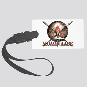Molon Labe - Spartan Shield and Swords Luggage Tag