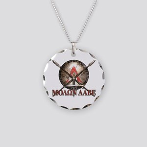 Molon Labe - Spartan Shield and Swords Necklace
