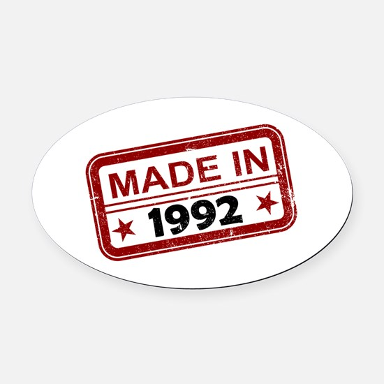 Stamped Made In 1992 Oval Car Magnet
