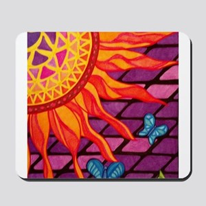 Mosaic Sun and Butterflies Mousepad