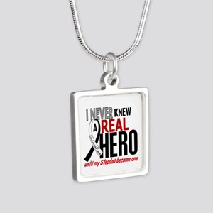 Carcinoid Cancer Real Hero Silver Square Necklace