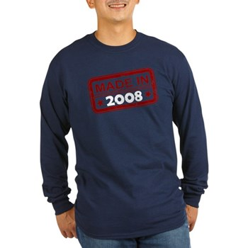 Stamped Made In 2008 Long Sleeve Dark T-Shirt