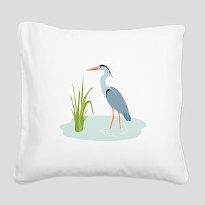 Blue Heron Square Canvas Pillow