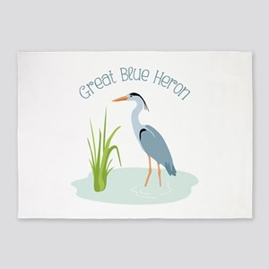 Great Blue Heron 5'x7'Area Rug