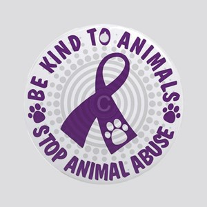 Purple Ribbon Be Kind to Animals Round Ornament