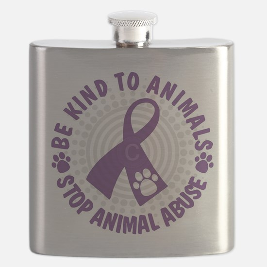 Purple Ribbon Be Kind to Animals Flask