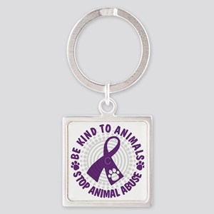 Purple Ribbon Be Kind to Animals Square Keychain