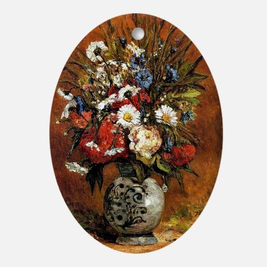 Gauguin - Daisies and Peonies in a B Oval Ornament