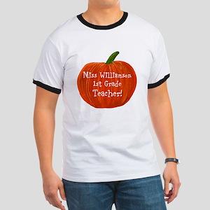 Personalised Halloween Teacher Pumpkin Ringer T