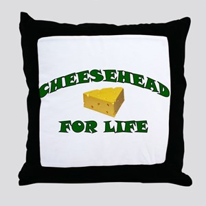 Cheesehead For Life Throw Pillow