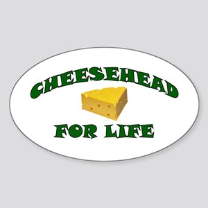 Cheesehead For Life Oval Sticker