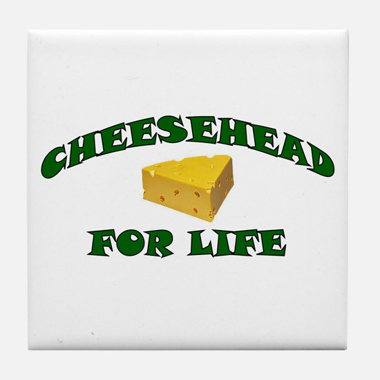 Cheesehead For Life Tile Coaster