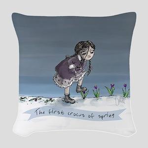 First Crocus Of Spring Woven Throw Pillow