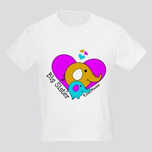 Big Sister Elephant Personalize Kids Light T-Shirt